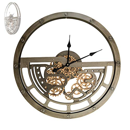 WOERD Large Wall Clock With Moving Gears Creative American Retro Industrial Style Silent Non-Ticking Battery Operated Steampunk Oversized Wall Decorative for Home Office School