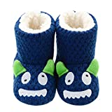 LA PLAGE Boys Girls Blue Monster Bootie Slippers with Cozy Memory Foam Winter Warm Indoor Outdoor House Slippers 6-7 US Navy