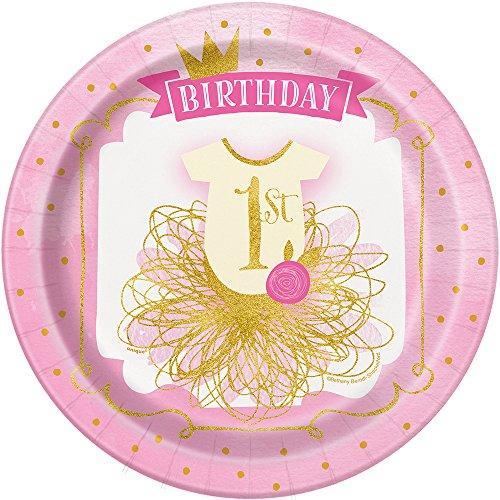 Unique Party 5815521.9cm rosa und gold Mädchen 1. Geburtstag Party Teller, 8Stück