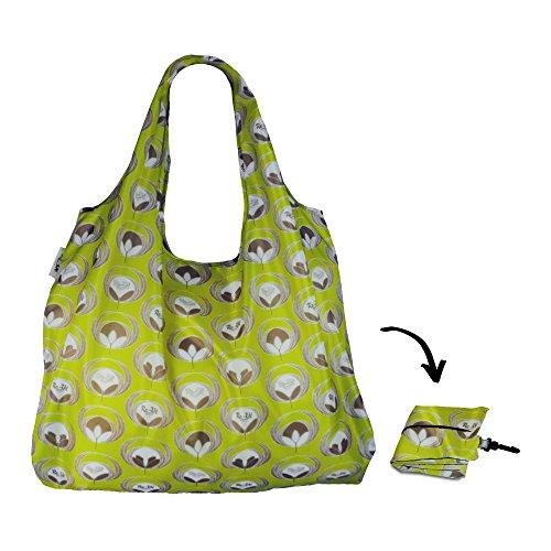 Re-uz Lifestyle XL Sac réutilisable pliable shopping sacs de courses Lot de 3 – Flower Power vert olive, Pépins de Raisin & Denim