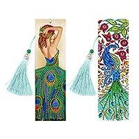 ダイヤモンド絵ブックマーク, 5Dダイヤモンドの絵画ブックマーク、塗料、キット、特別な形のダイヤ規模のタッセルレザーブックマーク、大人のための刺繍絵画キット初心者 (Size : SQ01)
