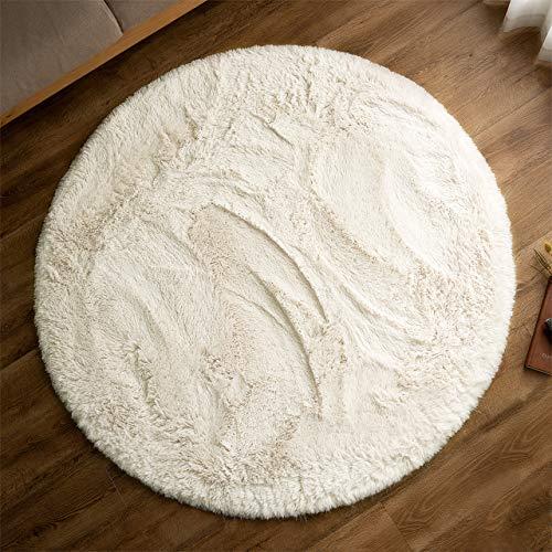 サヤンサヤン 洗える シャギー ラグ 円形 エクセレントムーティー� 直径 140 スノーホワイト