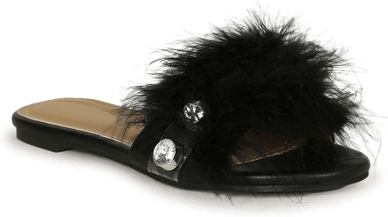 Alrisco Lemonade Feathered Jewel Open Toe Flat Slide Sandal 20303 - Black Leatherette (Size: 6.0)