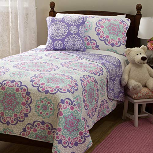 Mytex, Vivian 4-Piece Quilt Set Featuring Medallion Pattern, Bohemian Style, Cotton, Reversible Bedding, Teen, Girls, Purple, Aqua, and Pink Full