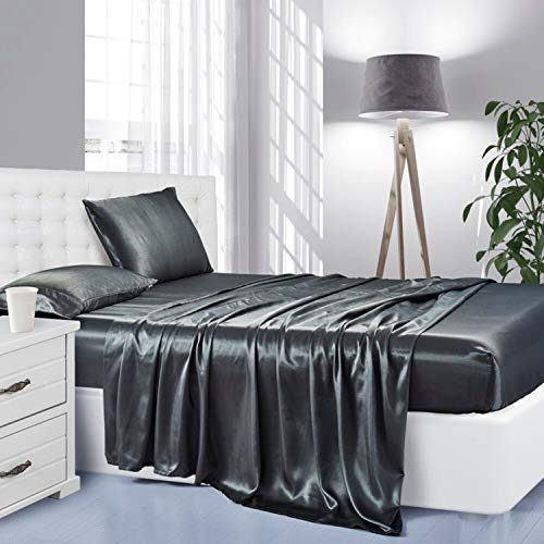 Lanest Housing Silk Satin Sheets, 4-Piece Full Size Satin Bed Sheet Set with Deep Pockets, Cooling Soft and Hypoallergenic Satin Sheets Full - Grey
