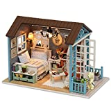 TuKIIE DIY Miniature Dollhouse Kit, 1:24 Scale Wooden Mini Doll House Accessories with Furniture for Kids Teens Adults