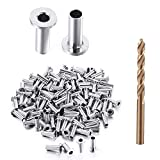 Toyeah 110 Pcs Stainless Steel Protector Sleeves for 1/8', 5/32' & 3/16' Deck Cable Railing, Wood Post Protector Sleeves, DIY Balustrade
