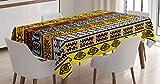 ABAKUHAUS Tribal Mantele, Motivos, Estampado con la Última Tecnología Lavable Colores Firmes, 140 x 240 cm, Negro Naranja y Amarillo