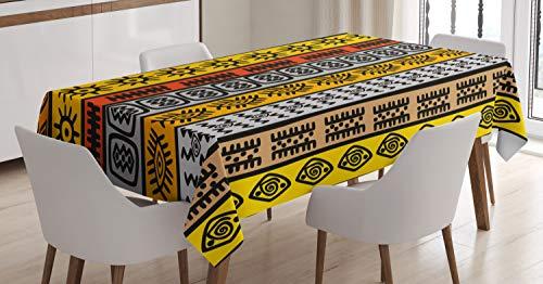 ABAKUHAUS Tribal Tovaglia, Motivi, Rettangolare per Sala da Pranzo e Cucina, 140 cm x 200 cm, Nero Arancione e Giallo