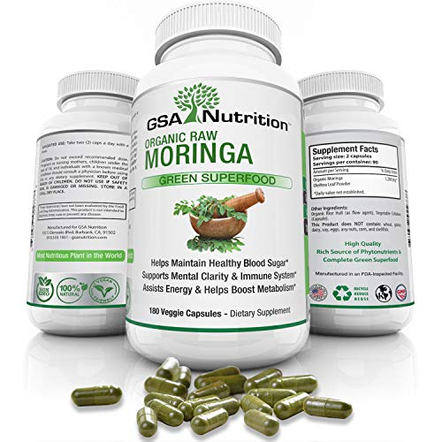 Moringa Oleifera 180 Capsules - Organic USDA Certified- Pure Green Leaf Powder Superfood Supplement - 1200mg Serving - Metabolism - Energy Support - 3 Month Supply - Nutrient Rich- Non-GMO- Vegan