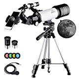 MAXLAPTER Telescope for Kids and Beginners, 70mm Refractor Telescope for Astronomy with Adjustable Tripod, Smartphone Adapter, Camera Shutter Wire Control, Backpack
