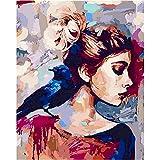Pintura Diy sin marco por números figura abstracta de mujer pintura por números sobre lienzo acrílic...