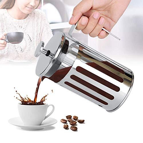 Dongbin Hand Gepresste Kaffeefiltertopf, Edelstahl Glas Französisch Presse Filter Kaffeekanne Haushalt Tee-Maschine Mit Anti-Rutsch-Griff Für Heim, Ersatzfilter,Silber,600ML