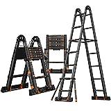yaunli Escalera telescópica Aleación de Aluminio Multifuncional Plegable Telescópico Herringbone Ladder Recta Escalera telescópica Multifuncional (Color : Aluminum, Size : 47.5x18x112.5cm)