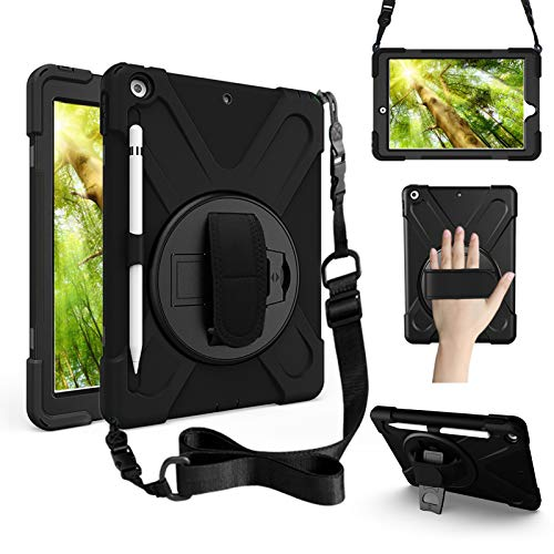 ZenRich iPad 9th Generation Case, iPad 8th/7th Generation 10.2 Case with Pencil Holder Kickstand Hand Strap and Shoulder Strap zenrich Rugged Shockproof Case for iPad 10.2 inch 2021/2020/2019