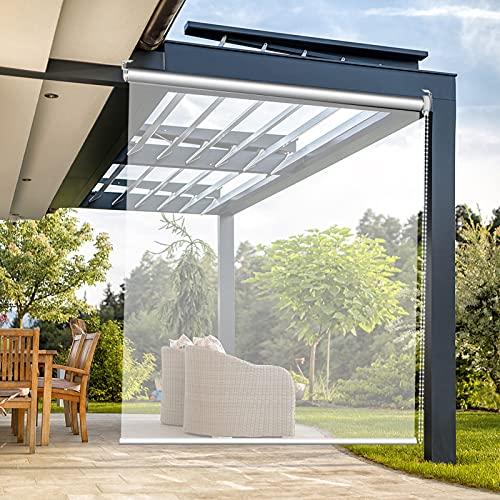 ZXXL Persiana Enrollables Bambú Cortina Enrollable Transparente para Patio Exterior con Accesorios, Persianas Enrollables Impermeables Transparentes de PVC Grandes, 80/100/120/140/150/160 cm de Ancho