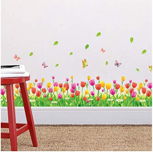 Tulpe bloem in landelijke stijl vlinder voetlijst muursticker DIY wandtattoo wooncultuur woonkamer slaapkamer raamdecoratie 111 x 32 cm