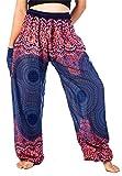 LOFBAZ Harem Pants for Women Boho Hippie Bohemian Yoga Palazzo Gypsy Joggers Baggy Lounge Aladdin Parachute Festival Clothing Rose Flower Dark Blue Size M