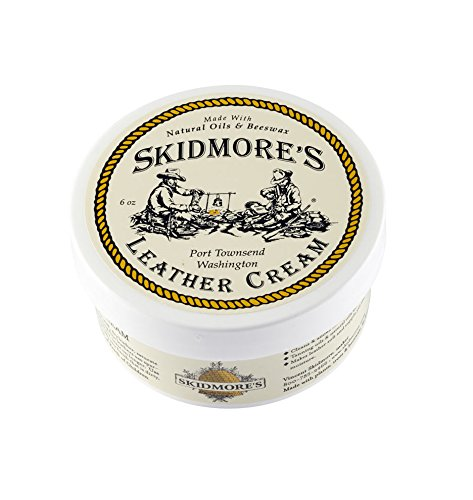 Skidmore's Original Leather Cream | 100% Natural Non Toxic Water Repellent Formula is a Cleaner and Conditioner | Repair a Horse Saddle, Riding Boots, Jacket, Gloves, Chaps, Shoes, Belt | 6 Oz