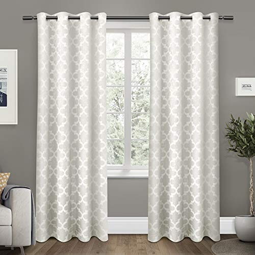 Exclusive Home Curtains Cartago Insulated Woven Blackout Grommet Top Curtain Panel Pair, 54x96, Vanilla, 2 Count