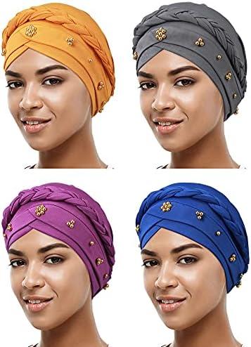 4 Pieces African Women Turban Cap Beaded Headscarf...