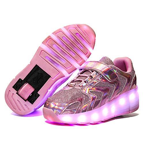 Jungen Mädchen Skateboard Schuhe Mit 1Rollen/2 Rollen Kinderschuhe Mit Rollen Skate Shoes Rollen Schuhe Sportschuhe Laufschuhe Sneakers Mit Rollen Unisex Kinder,Pink-A-34