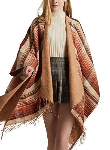 Women Boho Stripe Poncho Pashmina Shawl Wrap Cape Sweater Knitting Cardigan with Tassel Orange (Apparel)