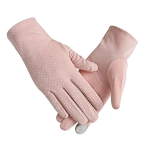ALYHYB Sun Protection Gloves Anti-Skid Driving Glove Touch Screen Mittens Summer Cool Sun Protection Cycling Mitten Breathable Full Finger Sunblock Mitts, for Driving Outdoor Activities