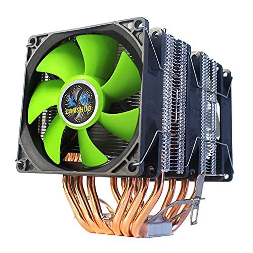 lizeyu Radiador de CPU de 6 Tubos de Cobre Ultra silencioso Intel I3 I5 I7 I9 Ventilador de la Placa Base AMD3 AM4 Escritorio 4 Cables Ventilador único Aurora Luces de Colores