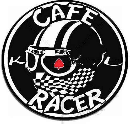 Sticker-Designs 10cm! Klebe-Folie Wetterfest Made-IN-Germany Cafe Racer Schwarz Bike017 UV&Waschanlagenfest Auto-Aufkleber