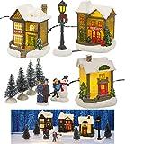 Générique Village de Noël Lumineux LED 10 pièces Miniature - Maison, Sapin de Noël, Bonhomme de Neige.