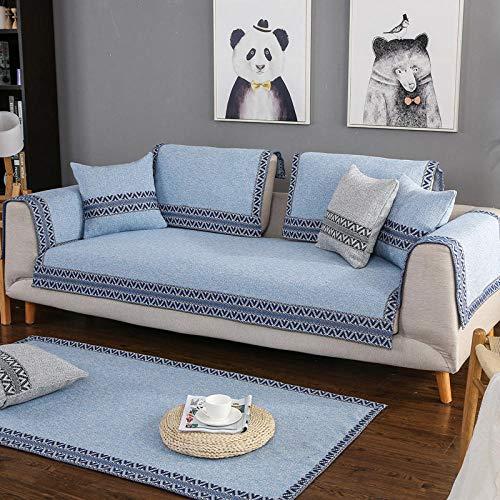 YUTJK Möbel-beschützer zu werfen, Sofa Anti-rutsch Matte Einfach sofakissen Kombination universal sofabezug Handtuch Sofabezug arm, Baumwollgewebte Sofakissen, für Winter, Blau