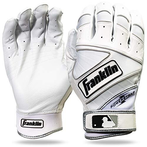 Franklin Sports MLB Powerstrap Batting Gloves, Pearl/White - Adult Large
