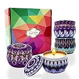 Jzartoc - Velas aromáticas (4 unidades, 4 unidades), para regalo, aromaterapia regalos velas para el hogar, lavanda, flor de cerezo peonía, higo mediterráneo y rosa