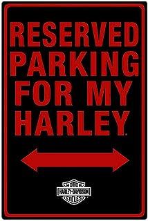 HARLEY-DAVIDSON Tin Sign, H-D Embossed Parking for My Harley, Black 2010991