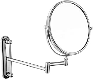 Wall Mounted Mirror 10X Magnification Bathroom Shaving Mirror Double-Sided Round Magnifying Vanity Swivel Mirror, 360° Rotatable and 8 Inch Extendable Arm, Chrome Finished