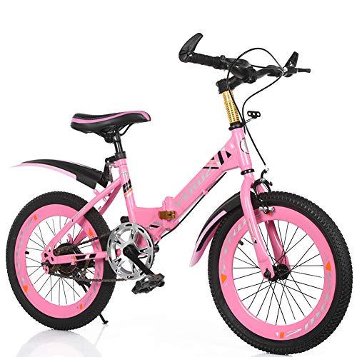 MYRCLMY Freestyle Gehweg BMX Fahrrad-for-Kids, Kinder Und Anfänger-Ebene Bis Hin Zu Fortgeschrittenen 16-20-Zoll-Rädern, Kinder Single Speed Folding Fahrrad Mountainbike,Rosa,18inch