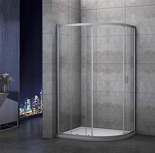 Mamparas de ducha Semicircular Puerta Corredera Gris Mate 5mm 100x80x185cm: Amazon.es: Bricolaje y herramientas
