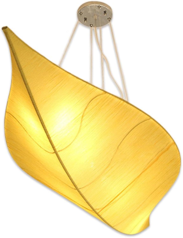 Die neue moderne japanische Stil Tuch Blatt Design Pendelleuchte Eisen Deckenleuchte Schlafzimmer Wohnzimmer Hotel Cafe Clubhaus Restaurant Teehaus Kronleuchter gelb grün (Farbe   Gelb-S)