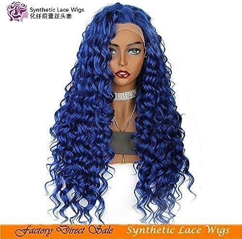 hasta un 50% de descuento WIG MINE Color azul rizado rizado 26 pulgadas pulgadas pulgadas largas pelucas de encaje resistentes al calor POR WIG MINE POR WIG MINE  tienda de descuento