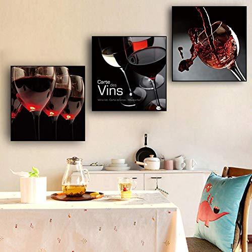 Impresión de arte en lienzo, póster de vino, cocina, bar, comedor, decoración, pintura, arte de la pared, copa de vino, decoración moderna para el hogar, imágenes 80x80cm (32x32in) x3 sin marco