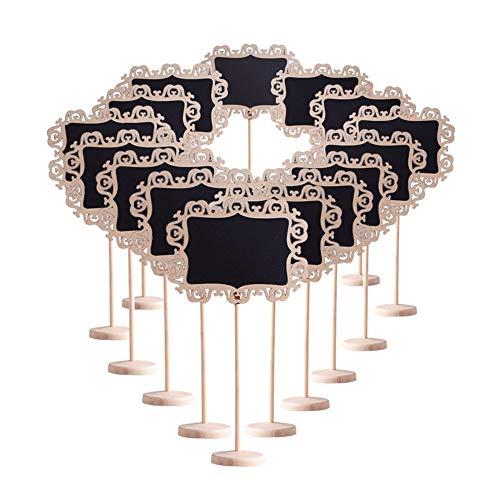 Confezione da 15, Wefond Mini carte di lavagna con supporto per etichettatura di promemoria, segnaposto di matrimoni, articoli per feste, numeri di tavolo (Chalk Board Alto)