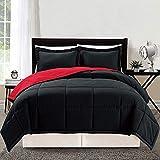 3 Piece Luxury Burgundy RED/Black Reversible Goose Down Alternative Comforter Set, Full/Queen Duvet