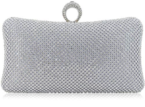 Dexmay Rhinestone Crystal Ring Clutch Purse Luxury Evening Bag for Bridal Wedding Party Silver