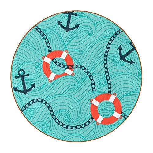 Untersetzer für Getränke Rettungsring Meer Getränkeuntersetzer 6er Set Waschbar Runde Coasters Leder Tischset Plattenmatte Für Kaffee Bier Tee Getränke 11x11 cm