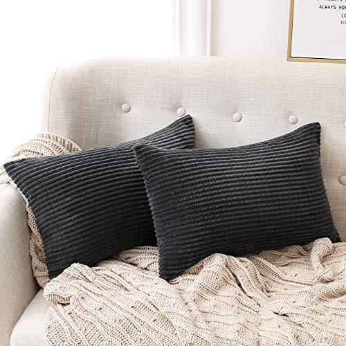 Deconovo Set di 2 Fodera Cuscino Divano con Cerniera Invisibile per Casa in Velluto a Coste 30x50cm Grigio Scuro