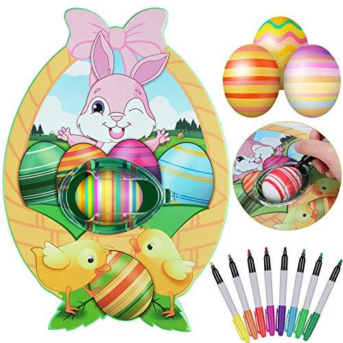 AMYGG Kit de Decoración de Huevos de Pascua, Linda Máquina Giratoria de Huevos de Conejito, Máquina de Pintar Huevos de Juguete con Luz Y Música con 8 Marcadores de Secado Rápido Coloridos Y 3 Huevos