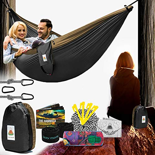 Lazy Monk 2 Person Hammock Tree Straps Included | Portable Foldable Parachute Nylon Double Hamock Outdoor, Travel, Camping | Hamaca para dos | Complete Two People Couple Patio Swing Amaca for Outside