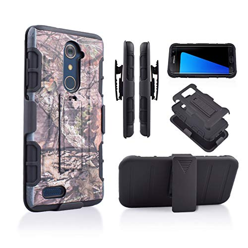 Compatible for ZTE ZMAX Pro/ZTE Carry Z981/ Blade X Max Z983 (T-Mobile, Cricket, Metro PCS) Hybrid Rugged Kickstand Grip Armor Tough Dual Layer Case with Belt Clip Holster (Camo)
