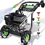 TEANDE 3200PSI 2.6GPM Gas Pressure Washer,209cc 7.0 HP Power Washer with Two 0.7L Soap Tanks,5 Quick-connect Nozzles and 20' Hose,For cleaning Cars,Driveway,Patio,Siding,Fence(Green)